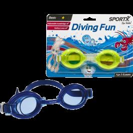 Kids chloorbril Sportx basic Blauw
