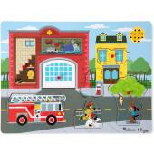Melissa & Doug - Vormenpuzzel Met Geluid Brandweerkazerne 8 Stukjes