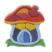 Houten Paddestoelhuis Puzzel - 16st