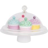 Jabadabado - Houten speelgoed cupcakes op plateau