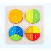 Houten sorteerbord ronde vormen partjes/breuken