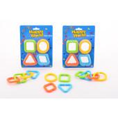Happy World Fun en Links, Bestaat uit 12 vormen in verschillende kleuren die makkelijk van de grote ring te halen zijn.