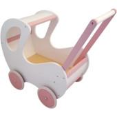 Houten Poppenwagen wit / roze klassiek met kap