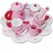 Houten Theeservies met dienblad - Hartjes roze - 24cm
