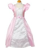 Prinsessenjurk Paris - lichtroze/wit - maat S/M 110/116 (3-6 jaar)