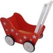 Houten Poppenwagen rood met witte sterren