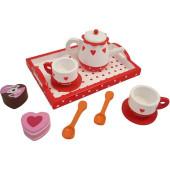 Houten theeservies hartjes en stip op recht dienblad - Kinderservies - Speelservies