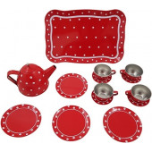 Tinnen speelgoed serviesje rood met witte stip in doos 15-delig