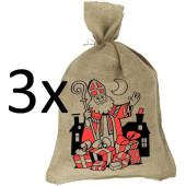 Sinterklaaszak Jute 80x50 cm - (3 stuks)
