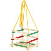 Houten Babyschommel Groen/geel/rood