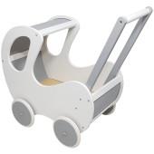 Houten Poppenwagen wit / zilver klassiek met kap