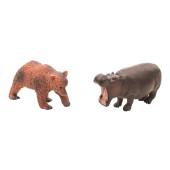 Wilde dieren - set van 2 - Beer en Nijlpaard