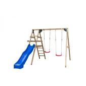 SwingKing Houten Speeltoestel met Dubbele Schommel en Glijbaan - Celina-Blauw