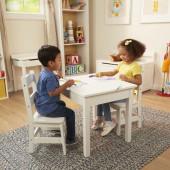Melissa & Doug - Houten Kindertafel met twee Stoeltjes - wit