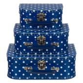3-delige kofferset polkadot blauw