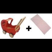 Houten Poppenwagen klassiek met kap - Rood met dekje
