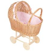 Rieten poppenwagen - houten wielen - Roze Ruitjes