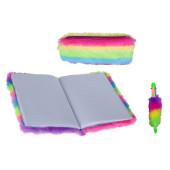 Fluffy Set Notitieboekje, etui, kleurenpen - Regenboog