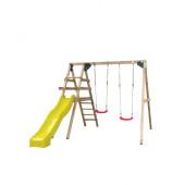 SwingKing Houten Speeltoestel met Dubbele Schommel en Glijbaan - Celina-Geel