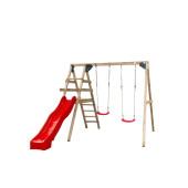 SwingKing Houten Speeltoestel met Dubbele Schommel en Glijbaan - Celina-rood