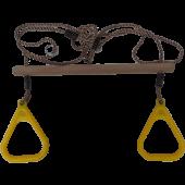 Hermic - Houten Trapeze met kunststof Turnringen Geel
